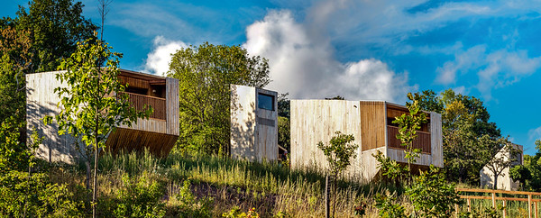Wooden eco-houses in the Vosges mountains, national park, unspoiled nature