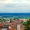 Wide aerial high resolution panoramic view of Ribeauville, Alsace, France