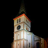 Tall church perspective night view, Barr, France