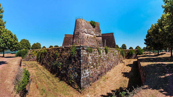 Fortress Bitche. The citadel with impregnable bastions is located on a high mountain in Alsace.