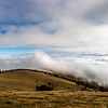 Beautiful landscape overview from the mountain to ocean of clouds