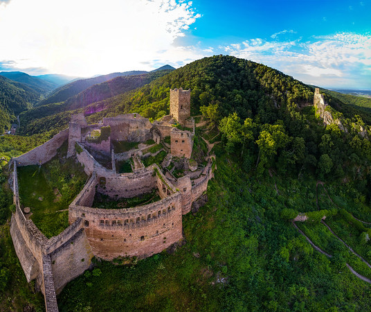 High resolution panoramic view of medieval castle Saint-Ulrich
