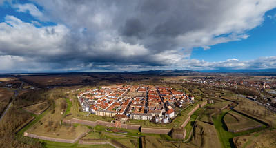 Aerial drone panoramic view of Neuf-Brisach city in Alsace