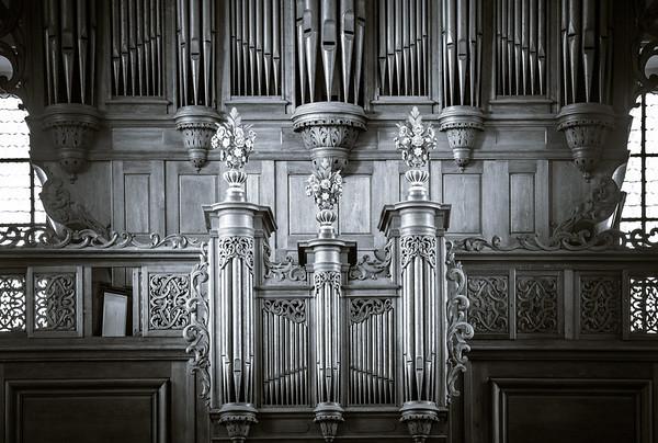 Beautiful organ view inside baroque church
