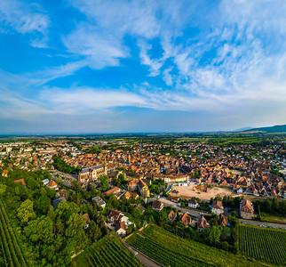 Aerial overview from drone to majestic village Obernai, one of the beautiful places in Alsace
