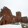Medieval ruins of Wangenbourg castle  in snow, winter, Alsace