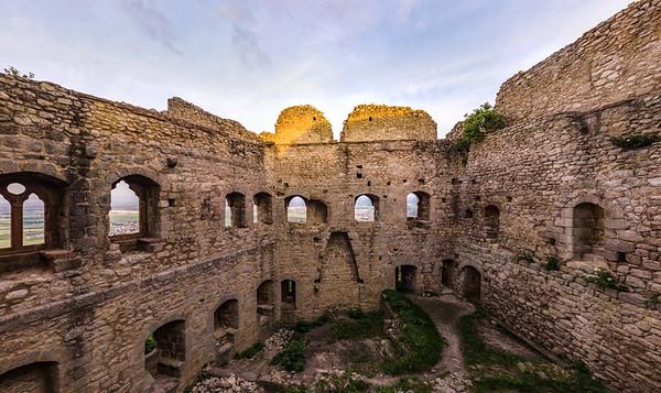 Inside view of medieval ruins, castle Ortenbourg, Alsace, France