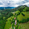 Stunning beautiful aerial view of the Vosges mountain range in Alsace.