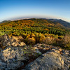Beautiful drone aerial view of the Vosges mountains in Alsace, France, Autumn colors.