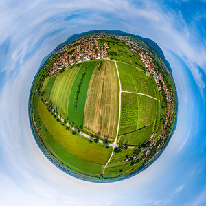 Spherical panoramic view like a planet of rural place in Alsace, Gertwiller and Barr