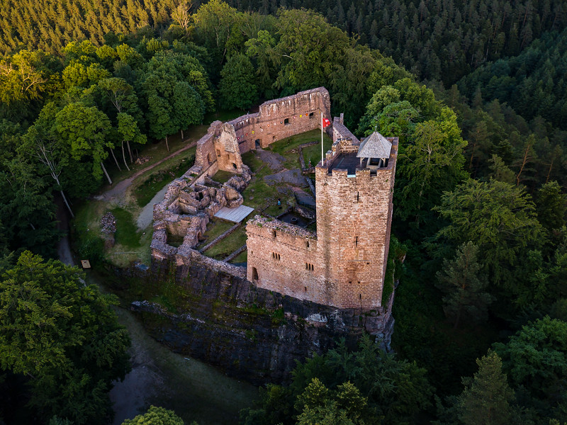 Ruins of medieval castle Wangenbourg aerial drone view