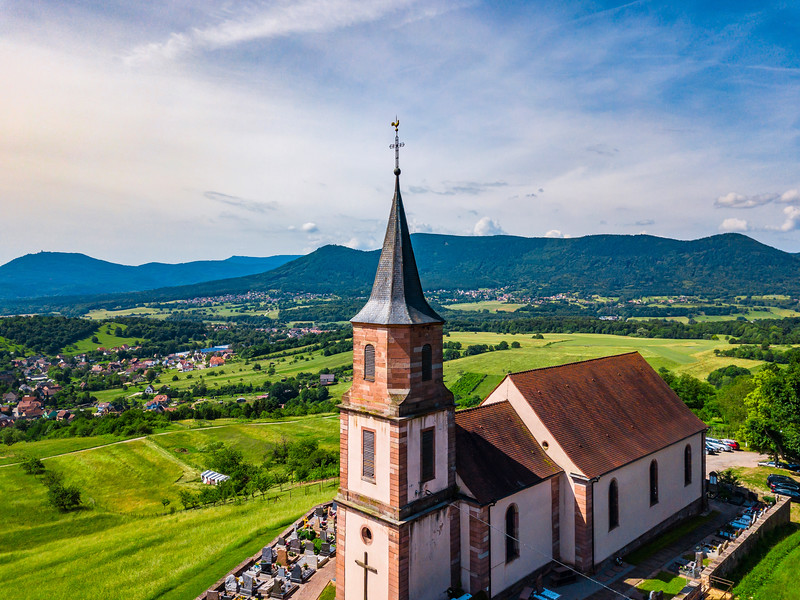 Aerial view of Church Saint-Gilles in Saint-Pierre-Bois, Alsace