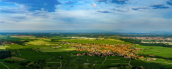 Wide aerial high resolution panoramic view of sunset over the green valley of vineyards, Alsace