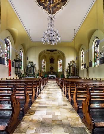 Majestic church interior panoramic view