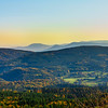 Aerial drone panoramic view of autumnal mountains in Alsace