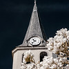 Infrared view of beautiful church belltower and flowers of magnolia, Ville, Alsace, France