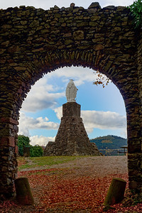 Saint Mary statue in old medieval castle Schirmeck