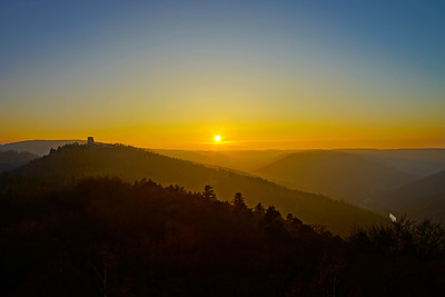 Sunset in Vosges mountains colorful view, Alsace
