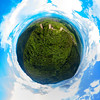 Spherical little planet view of Three Castles near Colmar, Alsace