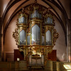 A stunningly beautiful organ in a church in Alsace. The interior of the catholic cathedral.
