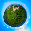 Medieavl ruins of Andlau castle on the hill in Alsace, panoramic aerial view