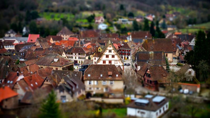 Tilt-shift aerial view of little village Andlau in Alsace