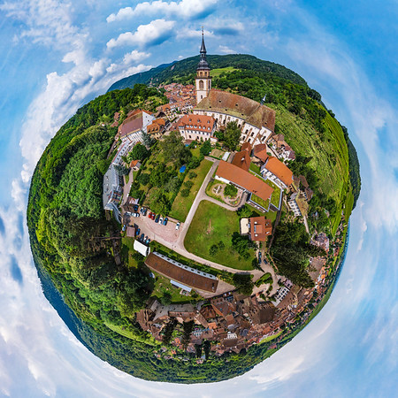 Spherical panoramic view like a planet of village Andlau, Alsace, France.