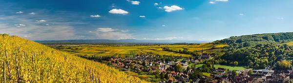 Yellow and orange vineyards in littl village Andlau,Alsace,France