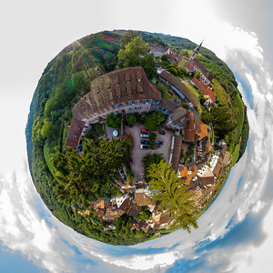Little planet spherical view of little village Andlau, Alsace