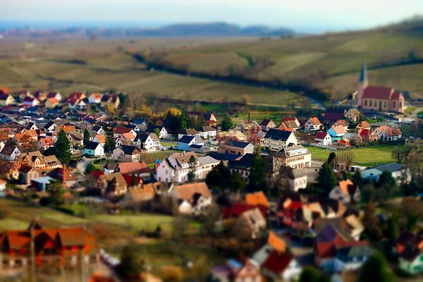 Aerial miniature view of village Andlau in Alsace