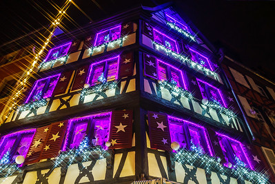 Wonderful Christmas highlighting in Colmar, Alsace, France. Street and houses decoration