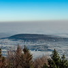 View of the frosty plain of the Rhine from Mount Saint Odile. Morning. Winter in Alsace