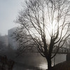 Fog in the city, Soft cityscape of Strasbourg with sunlight.