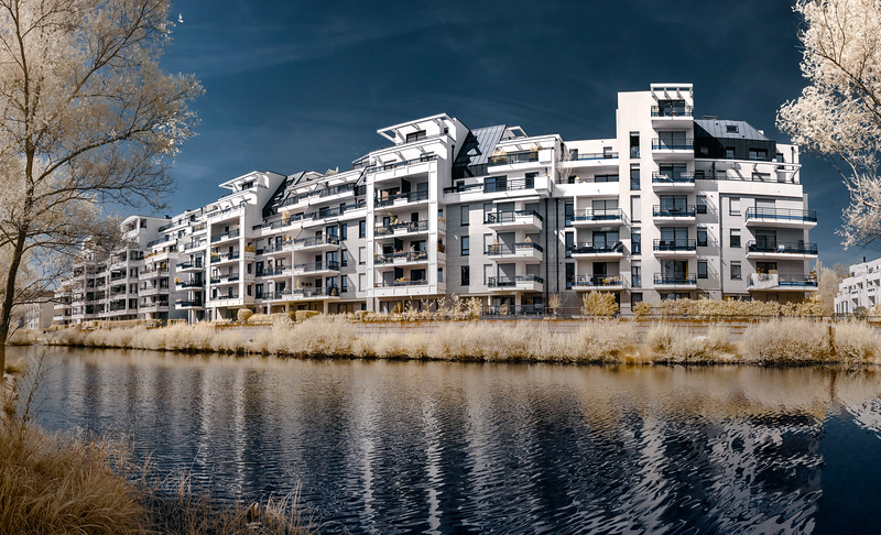New modern apartment house on the lake in Strasbourg, Alsace, Infrared view.France. Architecture for comfortable life.