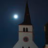 St William's Church, Strasbourg, night view with full moon