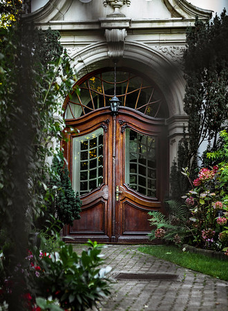 Front door of an old mansion in the Art Nouveau style
