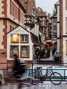 Editorial: 24th April 2019: Strasbourg, France. Rainy weather in old touristic center of the city