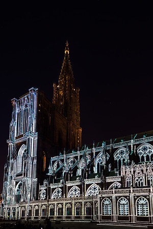 Beautiful colors of highlighted Notre Dame Cathedral in Strasbourg