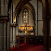 Stunning beautiful sunlight floods the interior of the beautiful Gothic church of St. Maurice in Strasbourg