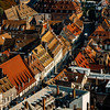 Aerial view of the city of Strasbourg. Sunny day. Red tiled roofs.