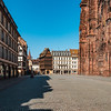 Absolutely empty square of the cathedral in Strasbourg