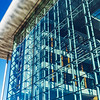 Glass transparent wall of modern building, perspective view