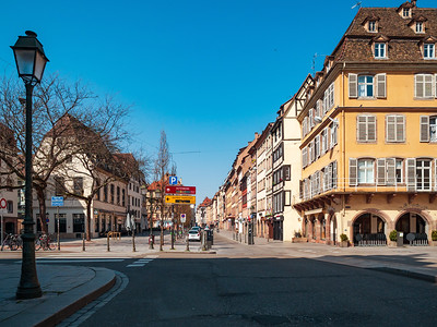 Empty streets of the sunny city of Strasbourg. There are no people. The cafes are empty. But the city is beautiful and will soon accept tourists again.
