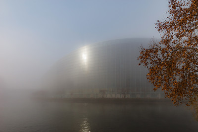 Strasbourg, France - December 18, 2018: Parliament European in the fog