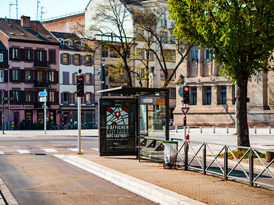 Editorial: 8th April 2020: Strasbourg, France. Empty streets of the city of Strasbourg during quarantine by coronavirus