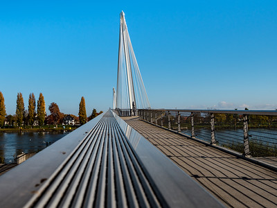 Beautiful pedestrian bridge between France and Germany, Kehl and Strasbourg