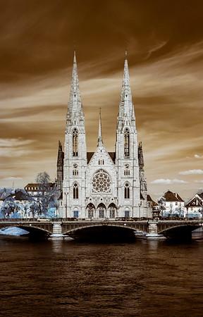 Church Saint Paul panoramic infrared view, Strasbourg