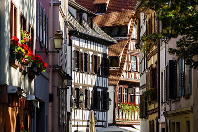 Sunny day on the street of old center, Strasbourg