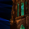 Highlighted elements of Strasbourg Cathedral while lasert show