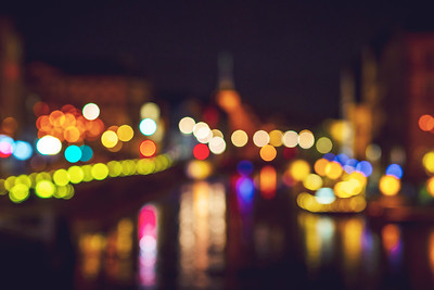 Bokeh bubbles of non-focused cityscape view